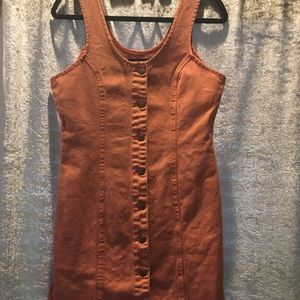 Mink pink orange denim dress L